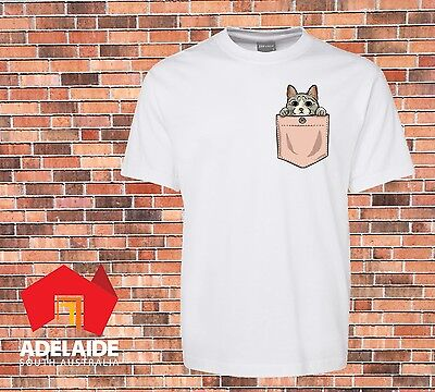 JB's Funny white T-shirt Printed Cute Cat Pocket New Design sizes small to 7XL