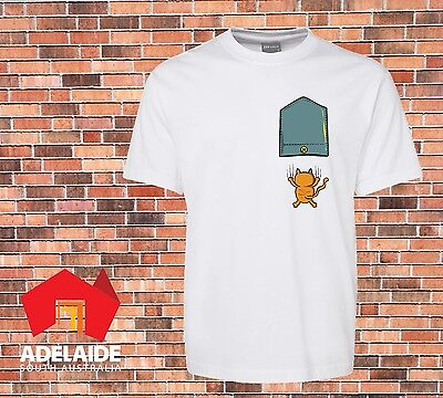 JB's Very Funny white T-shirt Printed Falling Cat Pocket New Design sizes to 7XL