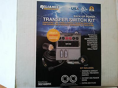 NEW Reliance Controls Back-Up Power Transfer Switch Kit  6 Circuits 30216BRK