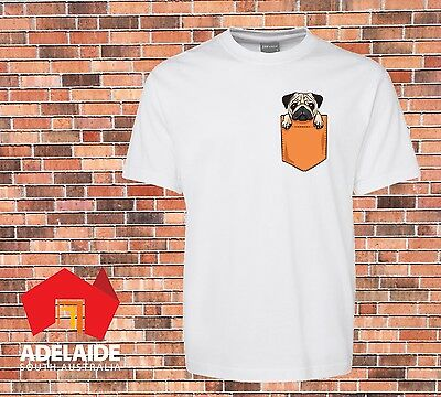 JB's Very Funny white T-shirt Printed Cute Pug Dog Pocket New Design size to 7XL