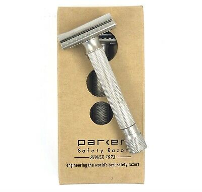 NEW Parker Variant ADJUSTABLE Satin Safety Razor + 5 Free Shark DE Blades
