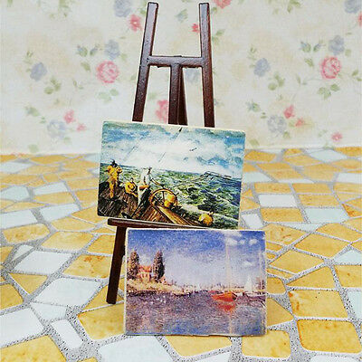 1:12 Miniature Wooden Easel With Two Paintings Dollhouse Decor Miniature Kit DIY