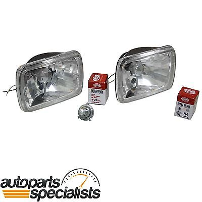 Crystal Rectangle Headlight Kit 2 x Lamp H4 60/55w Super Bright Halogen Upgrade