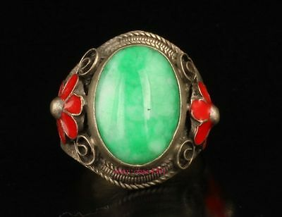Vintage Collection Old Handmade Tibet Silver Flowers emerald Ring