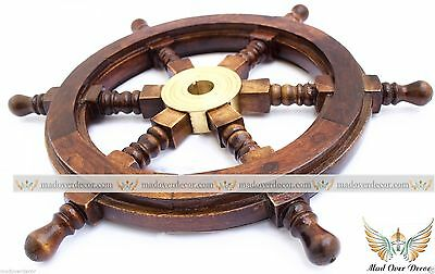 NEW VINTAGE WOODEN SHIP WHEEL - Pirate Shipwheel - NAUTICAL WALL DECORATIVE ""