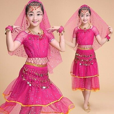 Children Kid Girl Professional Indian Dance Dress Set Belly Dance Party Costumes