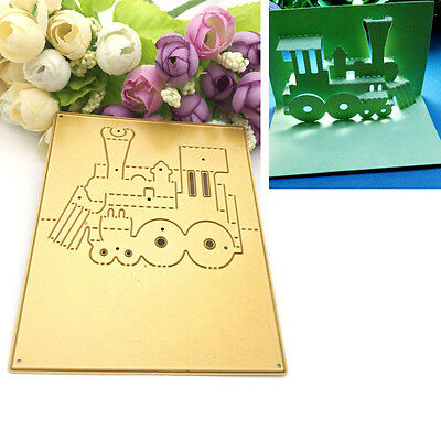 3D Train Chimney DIY Golden Metal Stencil Cutting Dies Scrapbook Craft Cutter