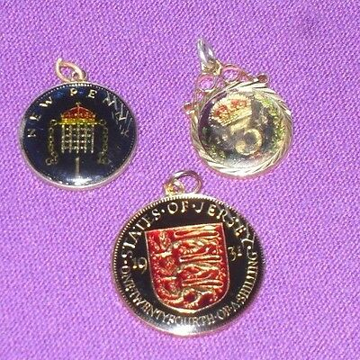 ANTIQUE VINTAGE 3 ENAMELLED COINS 1916 SILVER THREEPENCE 1931 1/24th 1977 PENNY