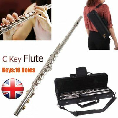New Silver Plated 16 Closed Holes C Key Flute with Cloth Screwdriver Padded Bag