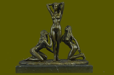 Three Friends bronze 3 Graces Girls Females Sculpture Naked Erotic Statue DB