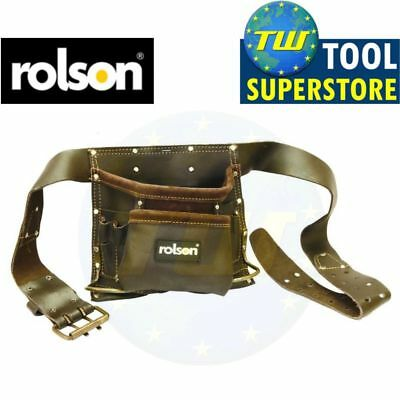 Rolson 8 Pocket Oil Tanned Leather Tool Belt Pouch Heavy Duty Hammer Loops