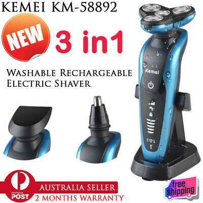 New Rechargeable 3 In 1 Electric Washable Shaver Blade Men's Hair Beard Trimmer
