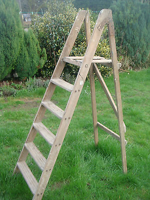 Vintage Wooden Step Ladder Ideal For Decor Display Shabby Chic Project