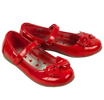 Girls Baby Toddler  Patent Bow Strap Style  Shoes Dunnes Red Uk Size 3