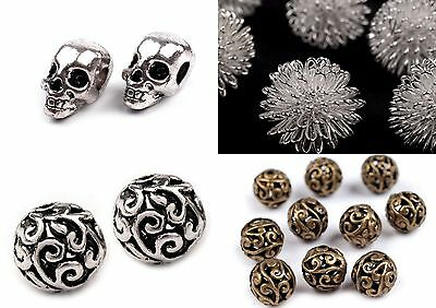 5 20 SKULL Spacer Metal Pearls Silver-colored skull Large hole bead Beads