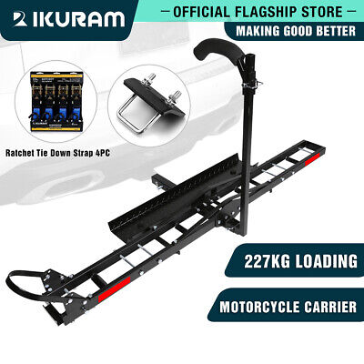 IKURAM Aluminum Motorcycle Motorbike Hitch Carrier Rack and Ramp trailer