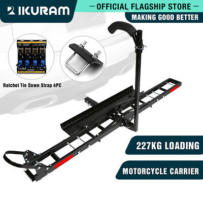 "IKURAM Towbar Motorcycle Carrier Rack Motor Bike Dirt Bike Aluminum 2"" with Ramp"