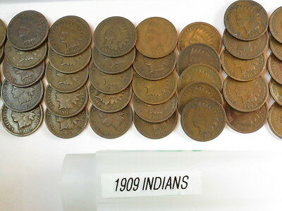 50- 1909 Indian Heads, 1 ROLL, G - F Condition  # A-550