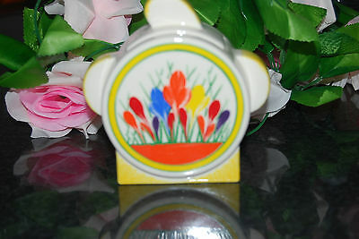 Superb Art Deco Clarice Cliff   CROCUS pattern SUGAR BOWL with lid by MOORLAND