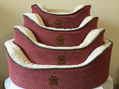 Riverside Luxury Super Soft Padded Quality Dog Beds Red & Beige Colours