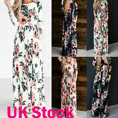 UK Women Floral Print Long Sleeve Boho Dress Ladies Evening Party Maxi Dresses