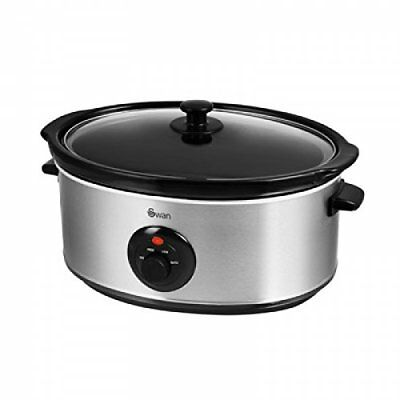 SF17030N Swan Stainless Steel Slow Cooker 6.5litre Healthy Kitchen Glass Brand