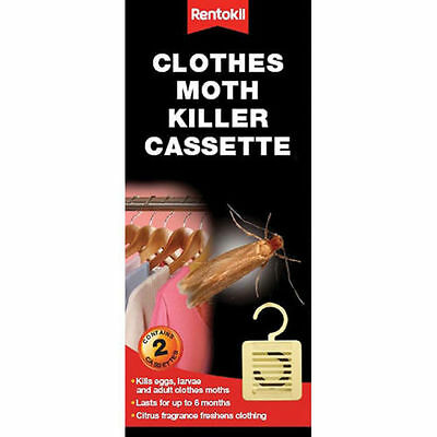 Pack Of 2 Rentokil Fragrance Free Clothes Moth Killer Cassette 6748