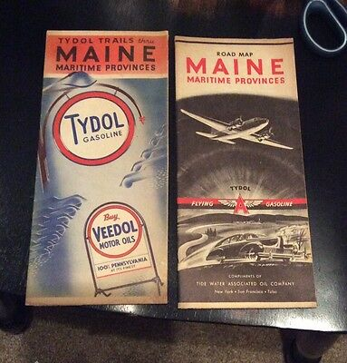 (2) Maine Flying A Tydol Veedol Road Maps 1930s 1940s Tidewater Associated