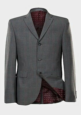 BNWT Youth's Smart Prom, Wedding Slim Fit Next Grey Check Suit Jacket