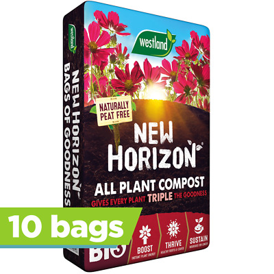 10 x Westland 50L New Horizon Peat Free Compost Multi Purpose Garden Plant Soil