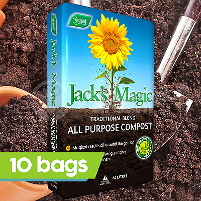 10 x Westland 60L Jack's Magic Multi Purpose Compost Peat Free Garden Plant Soil