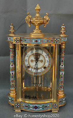 "16"" China Cloisonne Enamel Brass 18K Gold Plated Mechanical Chime Striking Clock"
