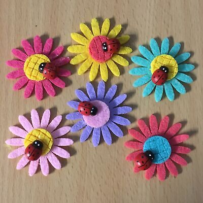 6pcs mix Flower w/ladybug applique patch craft scrapbook #586