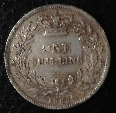 1865 Victoria Young Head Silver Shilling Die 48