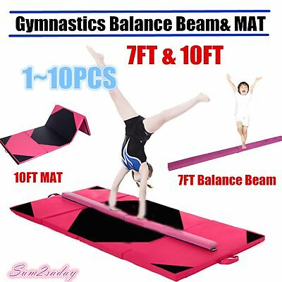 10FT Thick Folding Panel Gymnastics Mat Football Pattern Gym Fitness Exercise