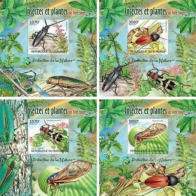 Z08 Imperforated BURdelux38 BURUNDI 2012 Insects and Flora 4 x s/s MNH