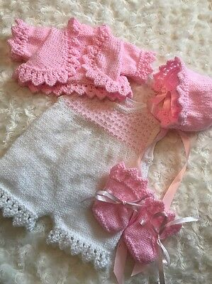 "New: Pretty Hand Knitted 4 Piece Outfit  For A 18"" Reborn Baby Girl"