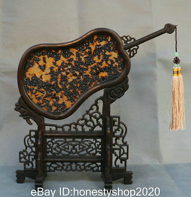 "13"" Old Chinese Boxwood Wood Hand-carved Hollow Dragon Fan-shaped Folding Screen"