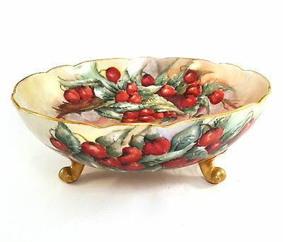 Antique France Limoges Footed Bowl Hand Painted Signed by Artist La Seynie P&P