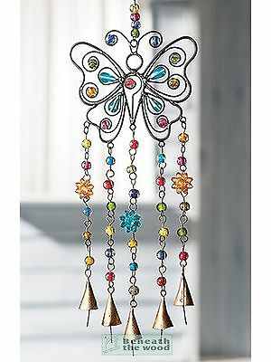 Butterfly Windchime With Bells & Coloured Beads - Wind Chimes