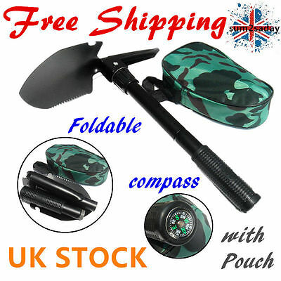 Army Military Folding Spa Shovel Pick Axe Camping  Compass Emergency Gear Tool