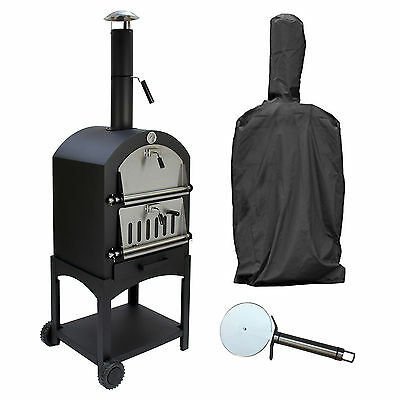 Outdoor Pizza Oven With Cover & Cutter Garden Charcoal BBQ & Smoker Bread Oven
