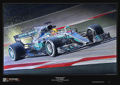 "Lewis Hamilton ""Sparks of Genius"" 2017 Mercedes W08 Limited Edition Art Print"