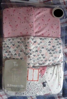 Pack of Three .. 100% Cotton Sleepsuits in Pink from Tu  6 - 9 months ..BNWT
