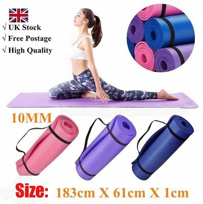 YOGA MAT EXERCISE FITNESS AEROBIC GYM PILATES CAMPING NON SLIP 10mm Thickt DE