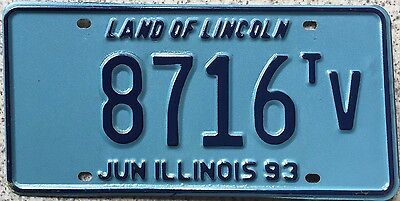 GENUINE June 1993 Illinois Land of Lincoln USA License Licence Number Plate 8716