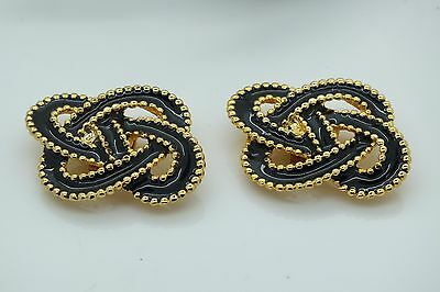 Vintage Black Enamel On Gold Tone Shoe Dress Clips
