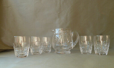 Stuart Crystal Stourbridge Whisky/Water Set: Jug+ 5 Glasses, Signed