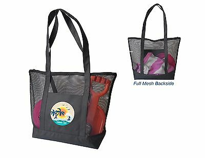 Mesh Beach Bags with Zipper Custom Printed with Your Logo or Message