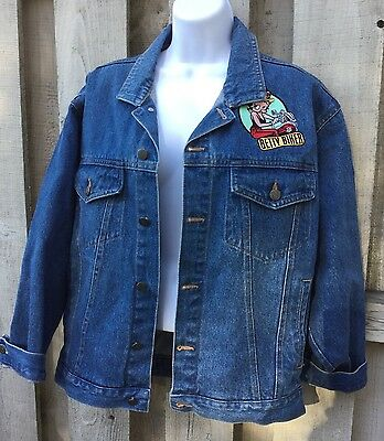 American Toons By Excelled Betty Boop Biker Denim Jacket Sz M